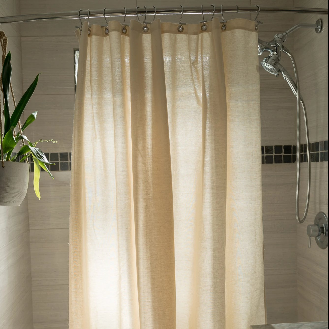 Cotton Shower Curtain White Or Natural Bath Tub Stall Sizes Ma Bean Products