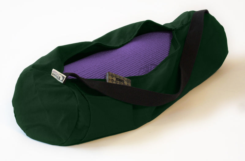 Cotton Yoga Mat Bag Large Forest Green