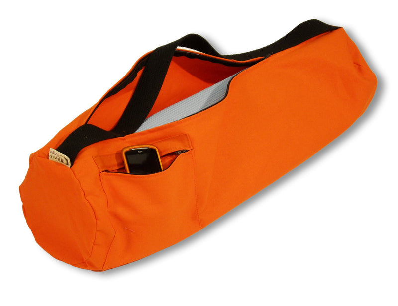 Cotton Yoga Mat Bag Large Tangerine