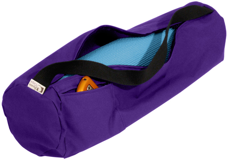Cotton Yoga Mat Bag Large Purple