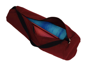 Cotton Yoga Mat Bag Extra Large Burgundy