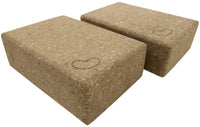 Cork Yoga Block 9 x 6 x 3 - 2 Pack
