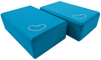 Foam yoga block blue 3 inch two pack