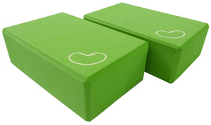 Foam yoga block green two pack 3 inch
