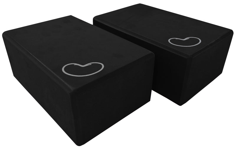Foam yoga block black 4 inch two pack