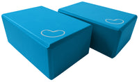 Foam yoga block blue 4 inch two pack