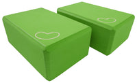 Foam yoga block green 4 inch two pack
