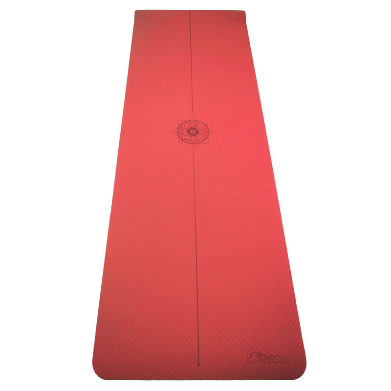 SuperLite TPE Yoga Mat - Laser Symmetry Line with Energy Centering Mandala, Extra Thick Cushioned Comfort and Textured Grip Surface