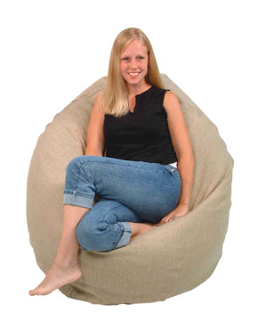Hemp Bean Bag Chair - Adult Size - Comfy Bean Lounger