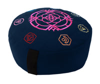 Embroidered Zafu Meditation Pillow Black