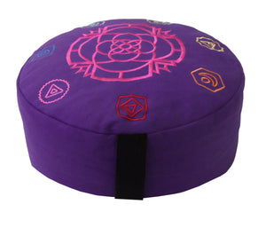 Embroidered Zafu Meditation Pillow Purple