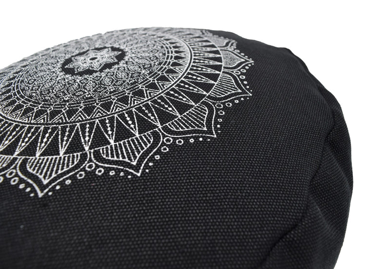 Hemp Zafu meditation cushion organic buckwheat hull fill with mandala design made in USA black