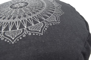 Hemp Zafu meditation cushion organic buckwheat hull fill with mandala design made in USA shaddow grey gray