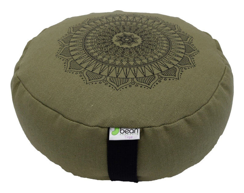 Hemp Zafu meditation cushion organic buckwheat hull fill with mandala design made in USA cactus green