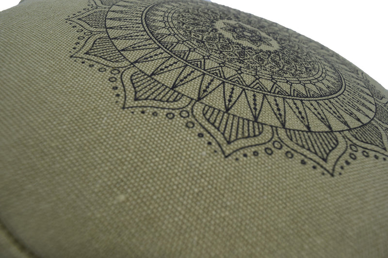 Hemp Zafu meditation cushion organic buckwheat hull fill with mandala design made in USA cactus green close up