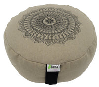 Hemp Zafus meditation cushions organic buckwheat hull fill with mandala design made in USA natural round black print