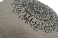 Hemp Zafu meditation cushion organic buckwheat hull fill with mandala design made in USA blueberry natural close up