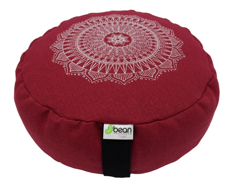 Hemp Zafu meditation cushion organic buckwheat hull fill with mandala design made in USA red