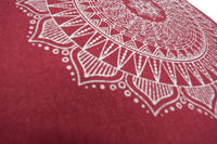 Hemp Zafu meditation cushion organic buckwheat hull fill with mandala design made in USA cactus red close up