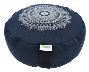 Hemp Zafu meditation cushion organic buckwheat hull fill with mandala design made in USA blueberry blue