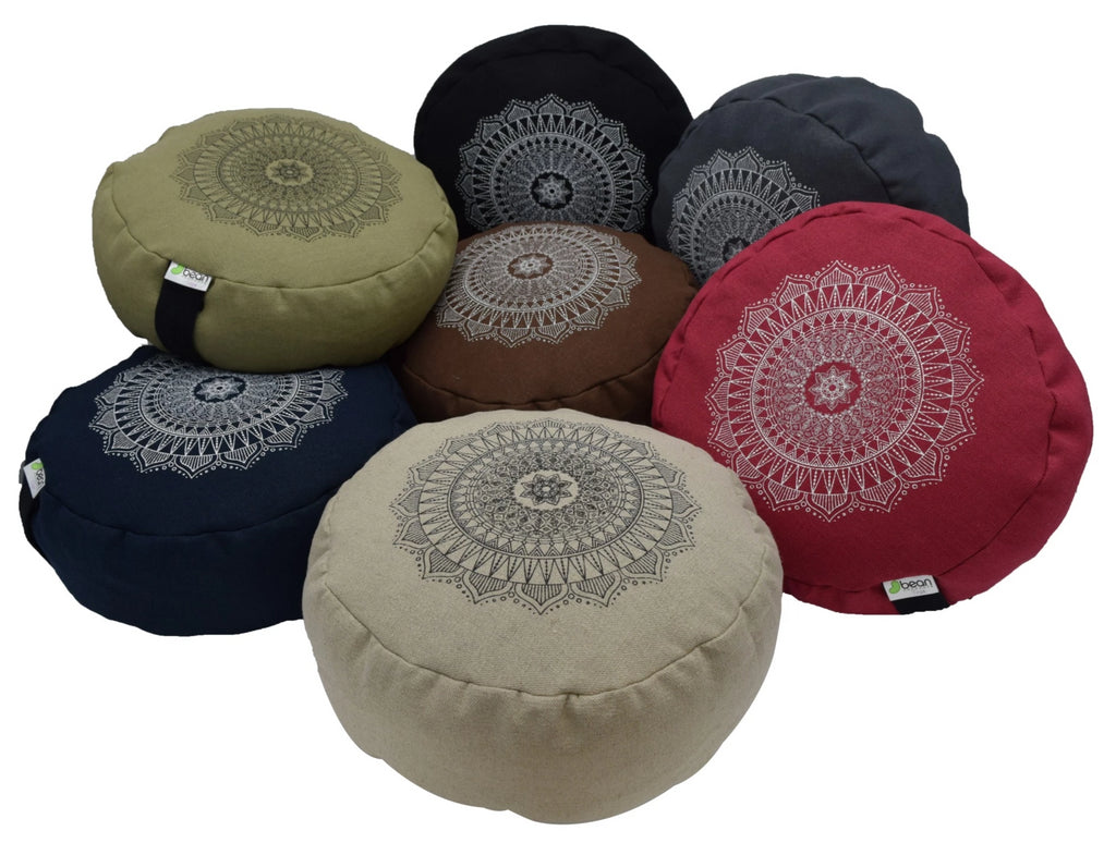 Hemp Zafus meditation cushions organic buckwheat hull fill with mandala design made in USA group