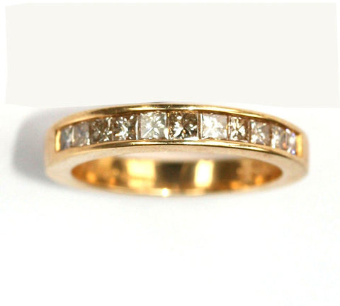 18ct yellow 1/2 eternity .75point