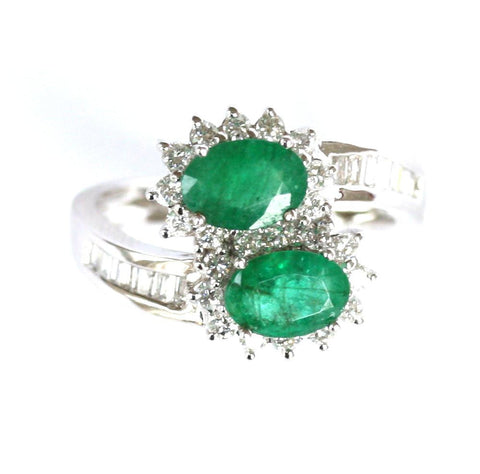 18ct white diamond & double emerald