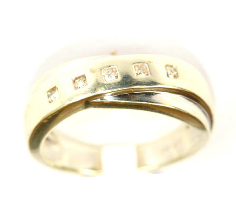 9ct White 5 Stone Twist Band