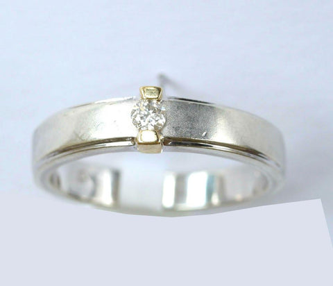 9ct white & yellow solitaire band
