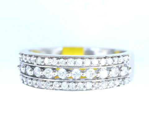 9ct white 3 row gemstone band