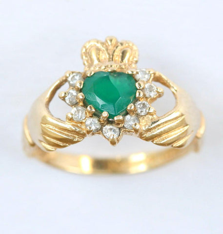 9ct cubic zirconia & green claddagh