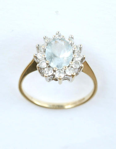 9ct cubic zirconia & light blue stone