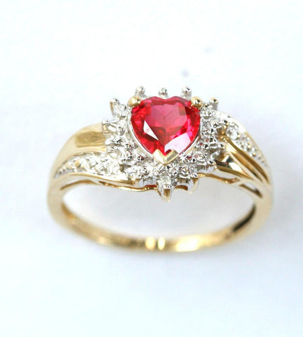 9ct diamond & ruby heart