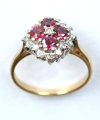 18ct diamond & ruby cluster