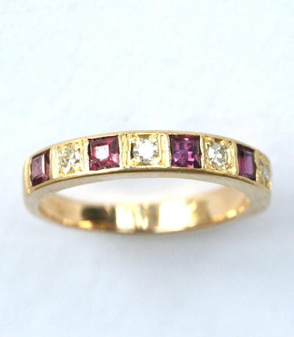 18ct diamond & ruby 1/2 eternity