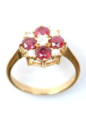 18ct diamond & ruby flower
