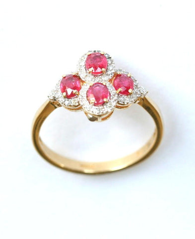 9ct diamond & ruby cluster