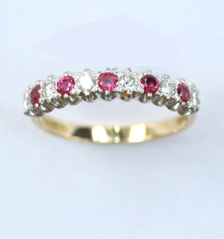 18ct 11stone diamond & ruby 1/2 eternity