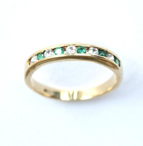 18ct diamond & emerald 1/2 eternity