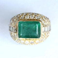 18ct gents diamond & emerald