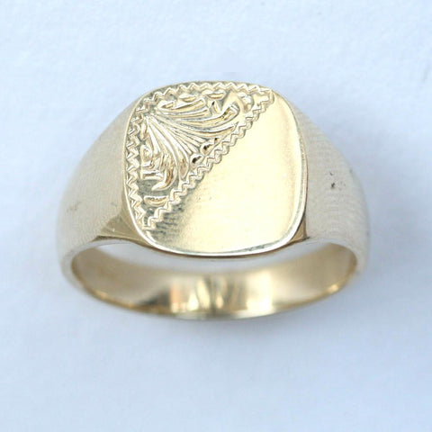 9ct plain & pattern signet