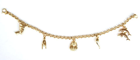 9ct small charm bracelet with 5 charms