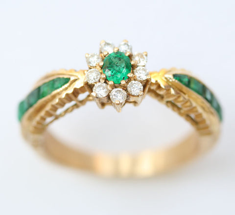 9ct diamond & emerald /emerald shoulders
