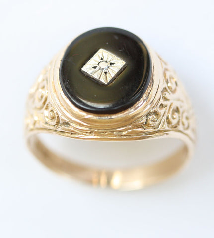9ct gents dia chip onyx