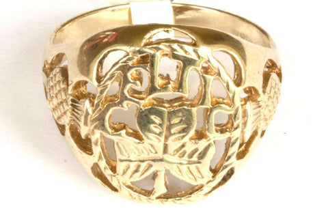 9ct Celtic Ring with Thistle Shoulders