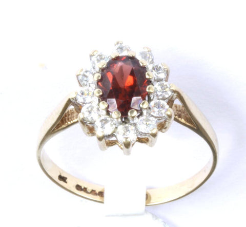 9ct Cubic Zirconia & Red Stone