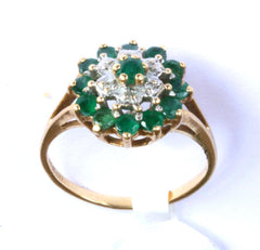 9ct Diamond & Emerald Cluster
