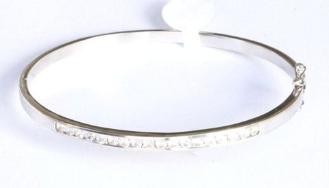 Silver Cubic Zirconia Hinged Bangle