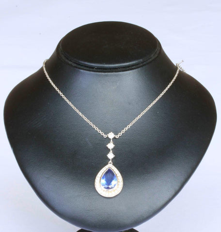 Silver Belcher with C.Z & Blue Drop Pendant