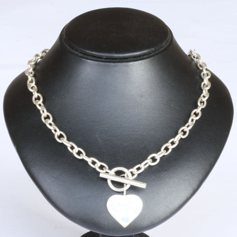 Silver T-bar & Heart Chain